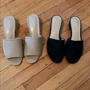 Tan and black low heal slip on